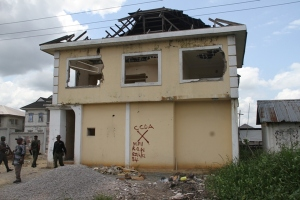 Bayelsa State Governor's private one-storey building before demolition